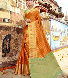 Buy Gold woven banarasi silk saree with blouse banarasi-silk-saree online