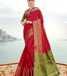 Buy Red woven banarasi silk saree with blouse banarasi-silk-saree online