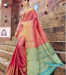 Buy Pink woven banarasi silk saree with blouse wedding-saree online