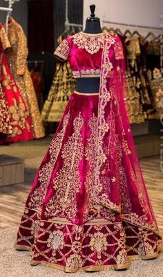 Pink embroidered velvet unstitched lehenga