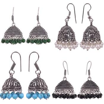 Combo pack of multicolour oxidised jhumka earrings