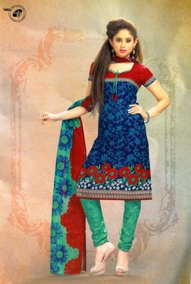 Trendy Blue  Printed Cotton  Dress Material
