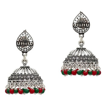 f75998844 Red and Green Color Beads Oxidised Earrings - Jaipur Mart - 2230248