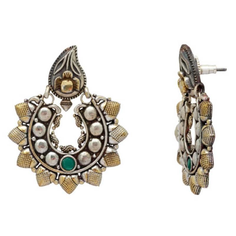 5fbeac9fa Green Color Glass stone Oxidised Earrings - Jaipur Mart - 2230279