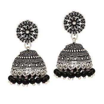 Oxidised Silver Plated Black Color Brass Earrings Jewellery