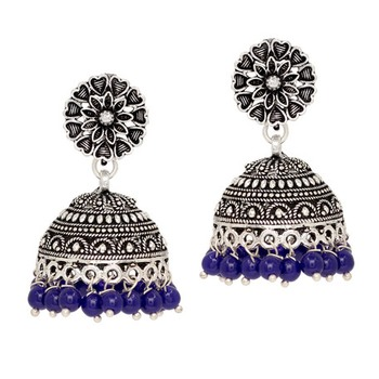 Oxidised Silver Plated Blue Color Traditional Brass Earrings Jewellery