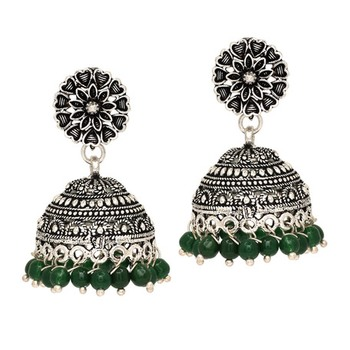Oxidised Silver Plated Green Color Brass Earrings Jewellery
