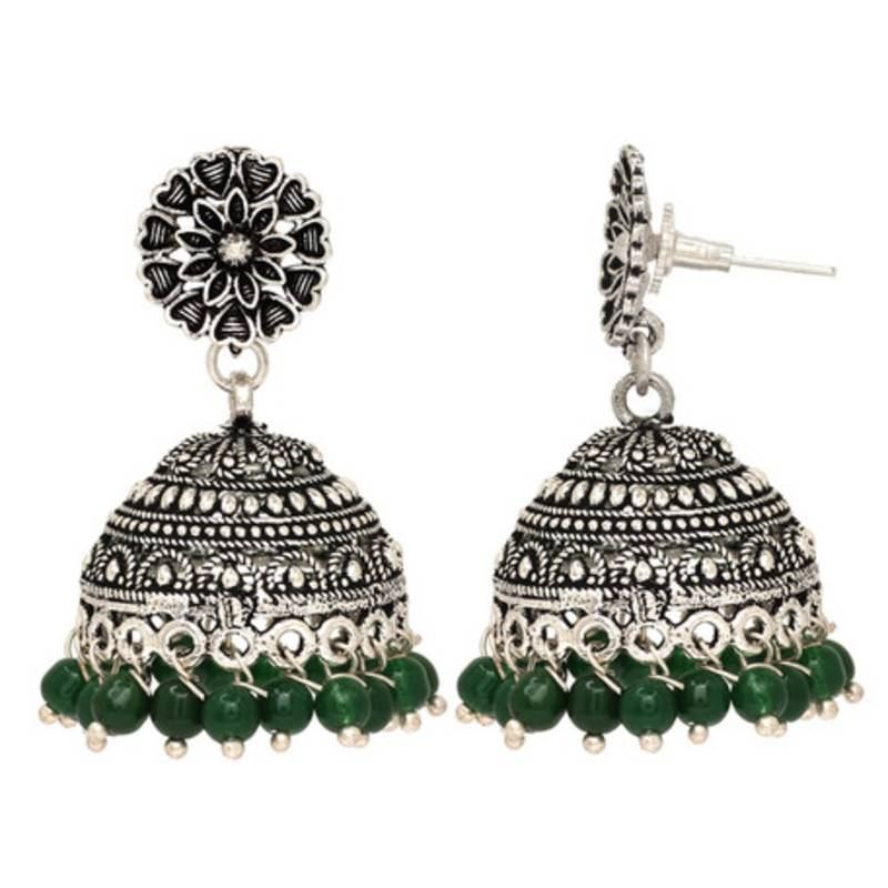 ad8583c87 Oxidised Silver Plated Green Color Brass Earrings Jewellery - Jaipur ...