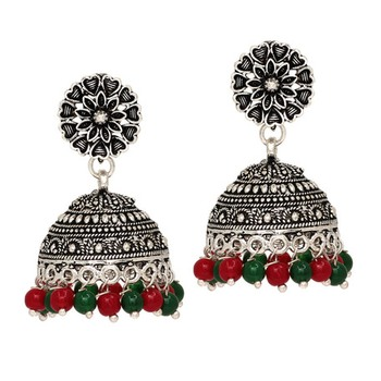 c9dad6d51 Oxidised Silver Plated Green Red Color Brass Earrings Jewellery - Jaipur  Mart - 2230296