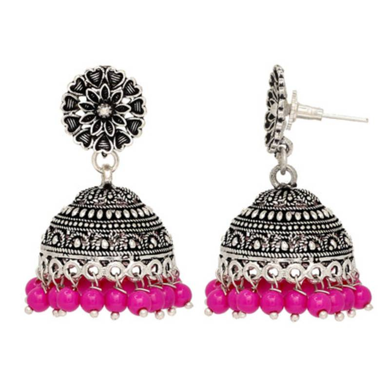 Oxidised Silver Plated Pink Color Br Earrings Jewellery