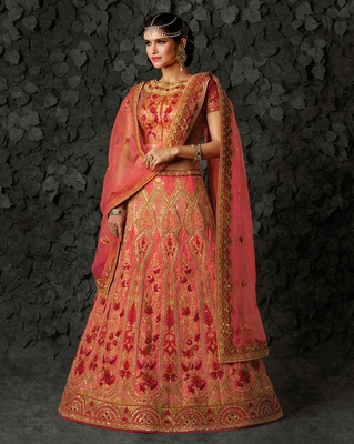 Coral embroidered silk unstitched lehenga