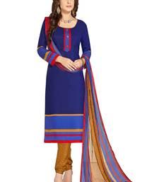 Blue printed cotton salwar with dupatta