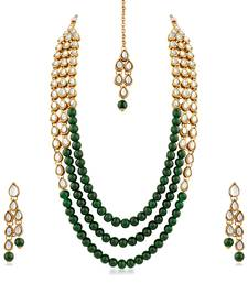 Gold Finish Kundan  And  Glass Pearl 3 Layer Necklace Set With Maang Tikaa