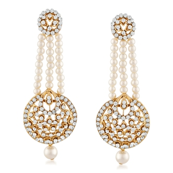 Ethnic White Stone Gold Finish Pearl Dangle Earrings