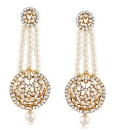Ethnic White Stone Gold Finish Pearl Dangle Earrings