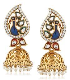 Peacock Design Kundan Stone Meenakari Jhumka Style Dangle Earrings