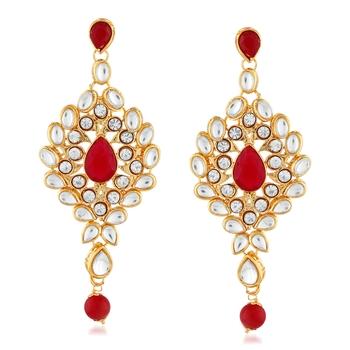 Gold Finish Kunda And Stone Dangle Earrings
