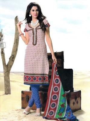 Beautiful Multi Color Printed Cotton  Dress Material