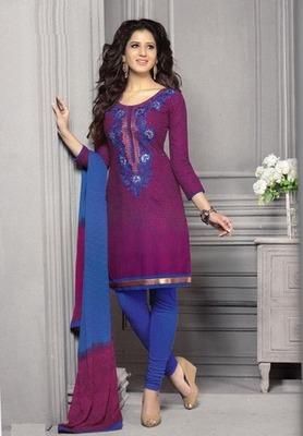 Fabulous Purple Printed Cotton  Dress Material