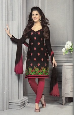 Radiant Black Printed Cotton  Dress Material