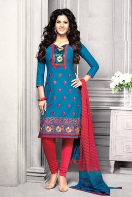 Beautiful Blue Printed Cotton  Dress Material