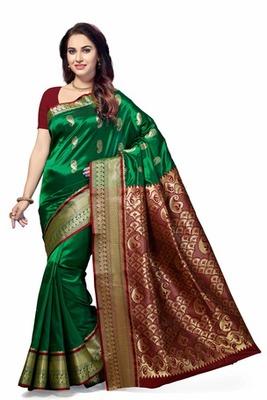 Green woven Tana Art Silk saree with blouse