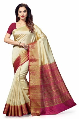 3b20a84f5e74d White woven Poly Silk saree with blouse - Ishin - 2232181