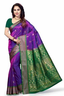 Purple woven Tana Art Silk saree with blouse