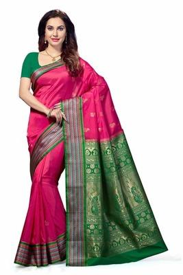 Pink woven Tana Art Silk saree with blouse