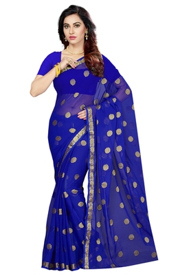 royal_blue woven Faux Chiffon saree with blouse