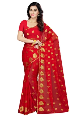 Red  woven Faux Chiffon  saree with blouse