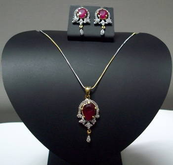 CZ Ruby Red Designer Pendant 012