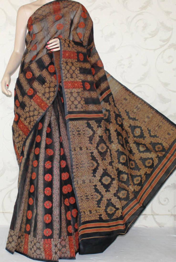 8240448ee1 Bengal Handloom Tant Cotton Jamdani Saree without Blouse - amgsquare ...