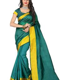 Buy Green printed cotton poly saree with blouse cotton-saree online
