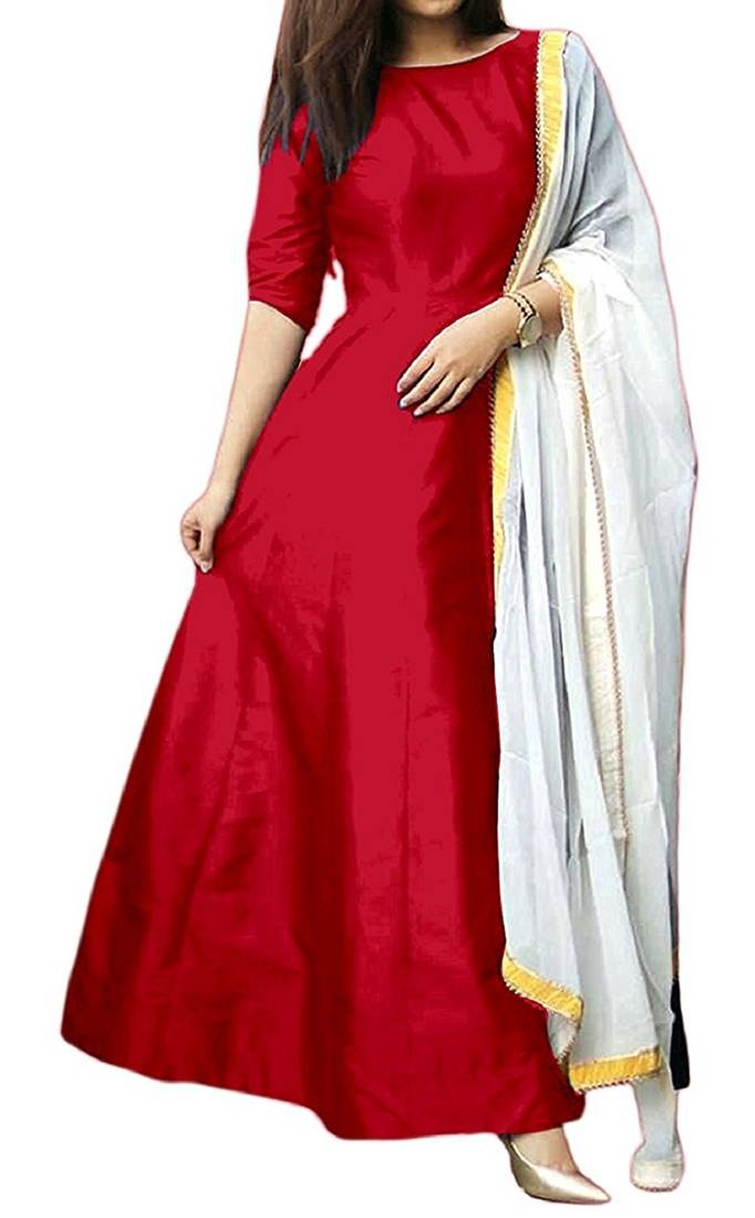 Buy Red Plain Banglori Silk Semi Stitched Gown With