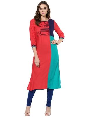 Red Embroidered Rayon stitched kurti