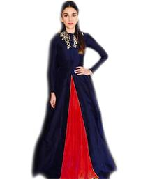 blue embroidered silk semi stitched party wear gowns