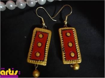 Rectangular Earrings with Drop