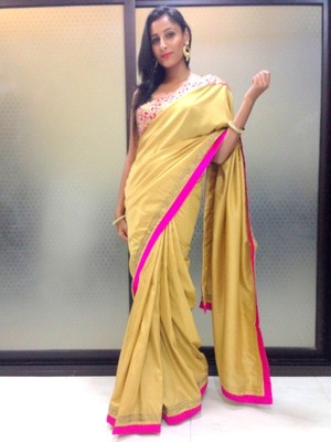 Gold pashmina silk