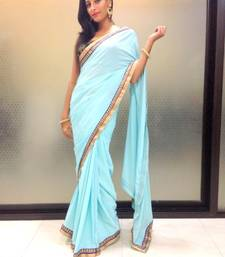 Buy Sky blue crepe saree crepe-saree online