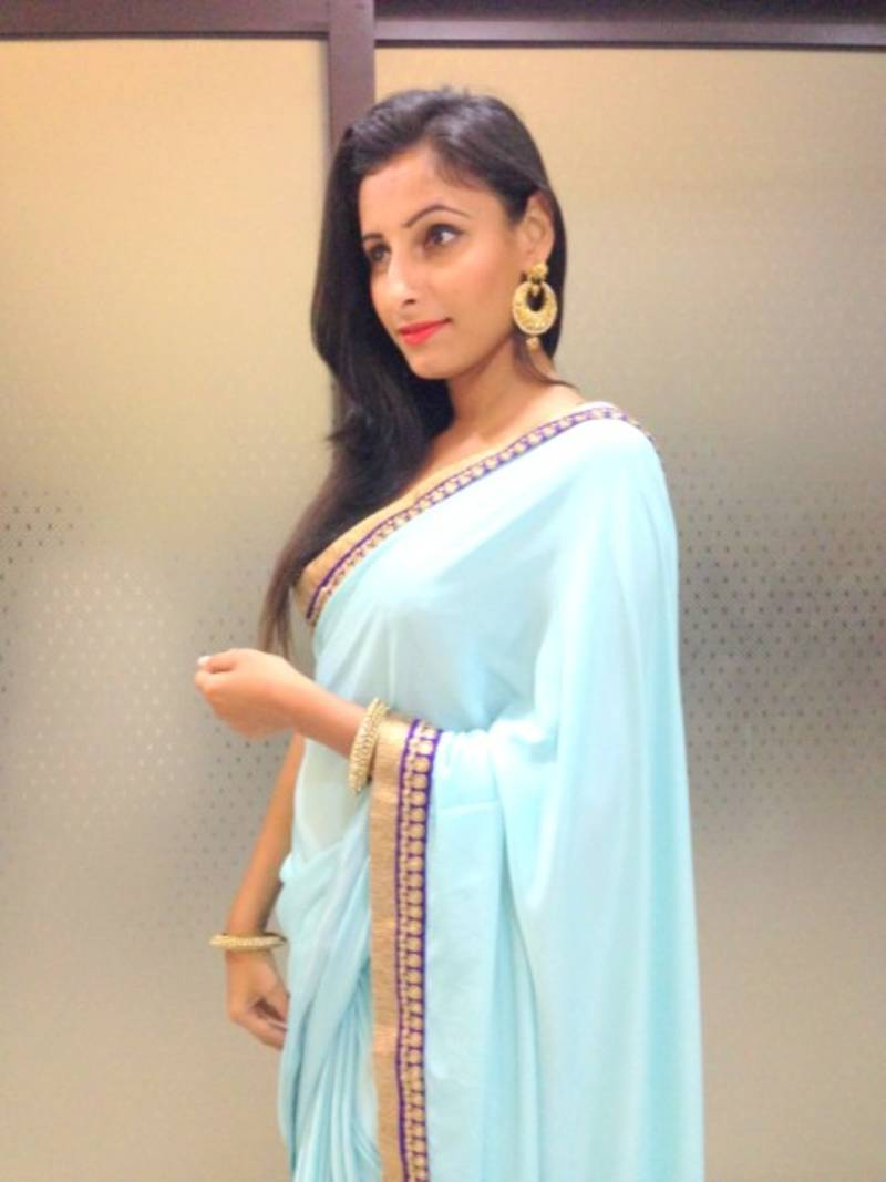 21f2d82f66 Sky blue crepe saree - Alina Couture - 298632