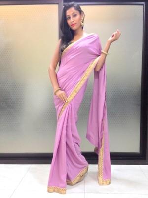 Light purple crepe saree
