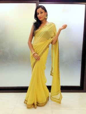 Lemon  Yellow semi georgette saree