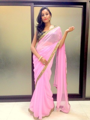 Light Purple semi georgette saree