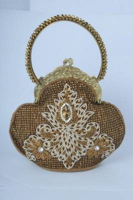 Heavily Embroidered Ethnic Party Clutch in Golden