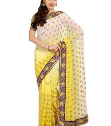 Buy Yellow embroidered chiffon saree with blouse ombre-saree online