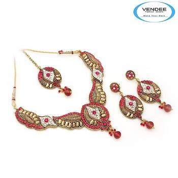 Vendee-Exclusive fashion designer Bridal necklace set (6861)