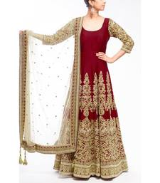 Maroon embroidered silk semi-stitched salwar suit with dupatta