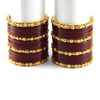 Brass Bangles Colour Maroon