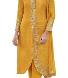 Buy Yellow embroidered bhagalpuri salwar semi-stitched-salwar-suit online